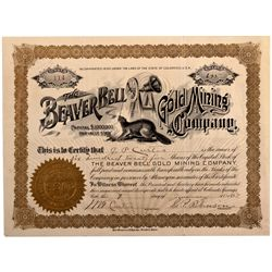Beaver Bell Gold Mining Company Stock Certificate CO - 1897 - 2012aug - General Americana