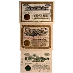 Colorado Mining Stock Certificates CO -  1893, 1899, 1912 - 2012aug - General Americana