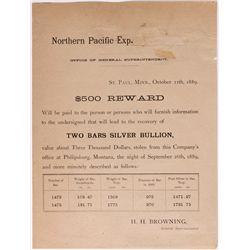 Silver Bullion Theft Broadside MN - 2012aug - General Americana