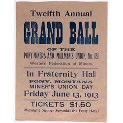 Fraternity Hall Broadside MT - Pony,Madison County - 1913 - 2012aug - General Americana