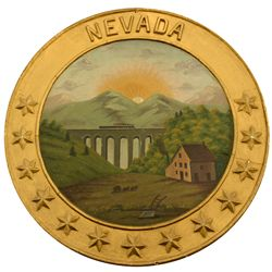 Nevada State Seal Oil Painting NV - c1930 - 2012aug - General Americana
