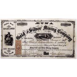 Aetna Stock Certificate NV - Aurora,Mono County - 1864 - 2012aug - General Americana