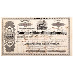 Antelope Silver Mining Company Stock Certificate NV - Aurora,Mineral County - 1863 - 2012aug - Gener