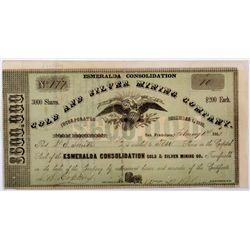 Early Esmeralda Consolidation Stock Certificate *Territorial* NV - Aurora,Mono County - 1861 - 2012a