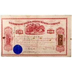 Enterprise Mine Stock Certificate NV - Aurora,Mineral County - April 13, 1866 - 2012aug - General Am