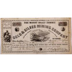 Mount Braly Stock Certificate NV - Aurora,Mineral County - 1862 - 2012aug - General Americana