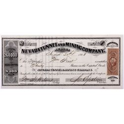 Nevada Tunnel Mine Stock Certificate NV - Aurora,Mineral County - 1863 - 2012aug - General Americana