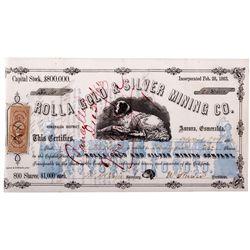 Rolla Mine Stock Certificate NV - Aurora,Mineral County - April 29, 1863 - 2012aug - General America