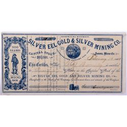 Silver Eel Stock Certificate NV - Aurora,Mineral County - 1863 - 2012aug - General Americana