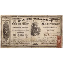 South Transit Gold and Silver Stock Certificate NV - Aurora,Mono County - 1863 - 2012aug - General A