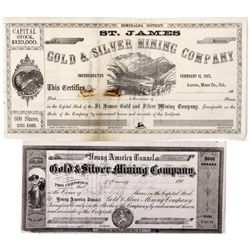 Young America Tunnel Stock Certificate *Territorial* NV - Aurora,Esmeralda County - 1863 - 2012aug -