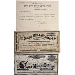 Mt Diablo Stock Certificates NV - Columbus,Esmeralda County - 1881 - 2012aug - General Americana