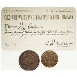 Elko and White Pine Transportation Pass and Tokens NV - Elko, -  - 2012aug - General Americana
