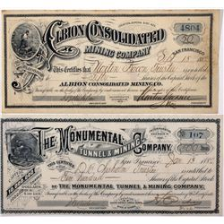 Albion & Monumental Stock Certificates NV - Eureka, - 1882 - 2012aug - General Americana