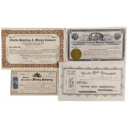 Four Eureka Mines Stock Certificates NV - Foley's Hill,Lander County - 1872 - 2012aug - General Amer