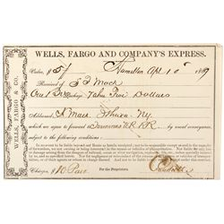 Wells Fargo Shipping Receipt NV - Hamilton,White Pine County - 1869 - 2012aug - General Americana
