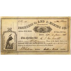 Peerless G & S Stock Certificate NV - Last Chance Hill,Mono County - 1863 - 2012aug - General Americ
