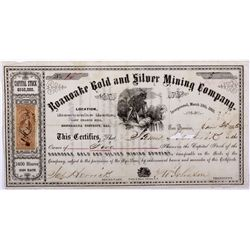 Roanoake Mining Company Stock Certificate *Territorial* NV - Last Chance Hill,Mono County - 1863 - 2