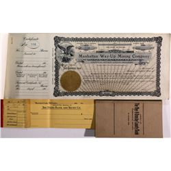 Manhattan Way-Up Mining Co. Stock Certificates & Check Books NV - Manhattan,Nye County - 1907 - 2012
