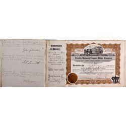 Nevada Belmont Copper Mines Co. Stock Certificates Book NV - Manhattan,Nye County - 1909 - 2012aug -