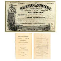 Sutro Tunnel Company Stock Certificate NV - Virginia City,Storey County - 1871 - 2012aug - General A