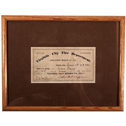 Virginia City Fire Department Certificate *Territorial* NV - Virginia City,Storey County - 1862 - 20