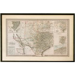 Framed Lithograph Map of Texas TX - c1900 - 2012aug - General Americana