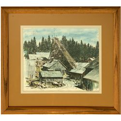 Empire Mine Grass Valley Watercolor CA - Grass Valley,Nevada County - 2012aug - Mining Hard goods/Im