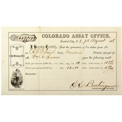 Colorado Assay Office Assay Receipt CO - Central City, - 1868 - 2012aug - Mining Hard goods/Importan