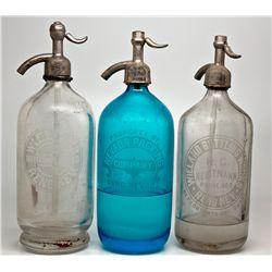 Reno Nevada Siphon Seltzer Bottle Trio NV - Reno,Washoe County - 1907-1918 - 2012aug - Nevada Bottle