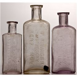 W. Pinniger Drugstore Bottle Trio NV - Reno,Washoe County - c1885-1895 - 2012aug - Nevada Bottles