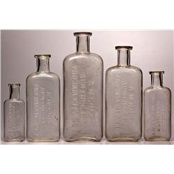 A.M. Cole Apothecary Bottle Group NV - Virginia City,Storey County - 1892-1910 - 2012aug - Nevada Bo