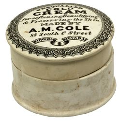 A.M. Cole Unequalled Cold Cream NV - Virginia City,Storey County - c1870 - 2012aug - Nevada Bottles