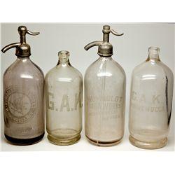 Four-Piece Set of Humboldt Soda Works Seltzer Bottles NV - Winnemucca,Humboldt County - 1887-1903 -