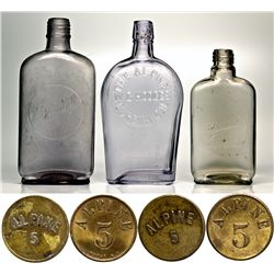 Three Humboldt County Flasks and Two Tokens CA - ,Humboldt County - 1899-1918 - 2012aug - Saloon