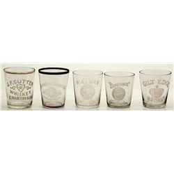 Whiskey Shot Glasses CA - c1900 - 2012aug - Saloon