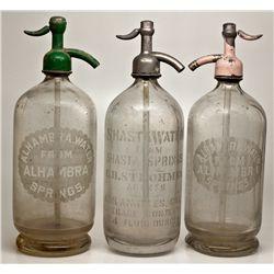Seltzer Bottle Trio CA - Alhambra-Los Angeles,c1902-1915 - 2012aug - Saloon