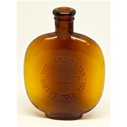 Arlington Bar Amber Whiskey Flask ~ Half Pint CA - Bakersfield,Kern County - c1907-1917 - 2012aug -
