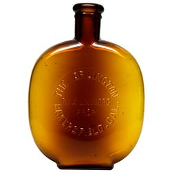 Arlington Bar Amber Whiskey Flask ~ Pint CA - Bakersfield,Kern County - 1907-1917 - 2012aug - Saloon