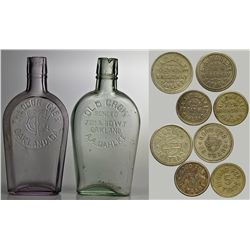Oakland Whiskey Bottle and Tokens CA - Oakland,Alameda County - c1890 - 2012aug - Saloon