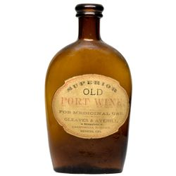 Port Wine Bottle With Paper Label CA - Redding,Shasta County - c1870 - 2012aug - Saloon