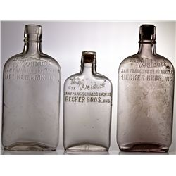 Three Becker Bros. Inc. The Waldorf San Francisco-Los Angeles liquor bottles CA - San Francisco, - 1