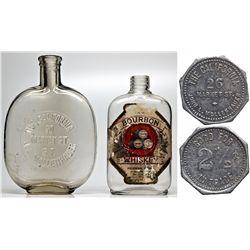 Two Rare San Francisco Whiskey Bottles and One Token CA - San Francisco, - 1899-1909 - 2012aug - Sal