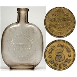 New Louvre Bottle & Token CA - San Jose,Santa Clara County - 1905 - 2012aug - Saloon