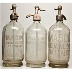 Seltzer Bottle Trio CA - Sausalito,Marin County - 1900-1910 - 2012aug - Saloon