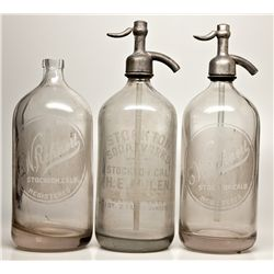 Seltzer Bottle Trio CA - Stockton,San Joaquin County - c1910-1920 - 2012aug - Saloon