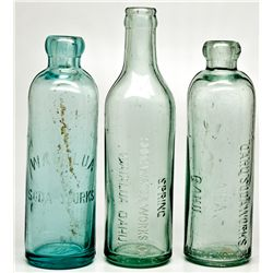 Hawaiian Soda Bottle Trio HI - , - c1901, c1910, c1913 - 2012aug - Saloon