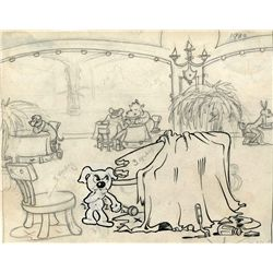 Betty Boop Dizzy Dishes background layout with Fritz the Dog drawing