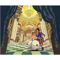 Set of two original production cels and production backgrounds from Poor Cinderella