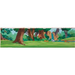 Two original production backgrounds from The Smurfs